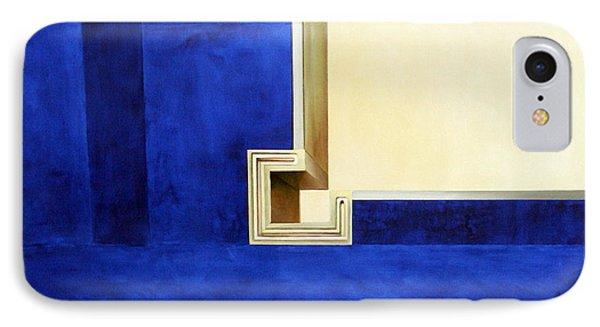 Blue Construktion On White Phone Case by Albert Kutzelnig