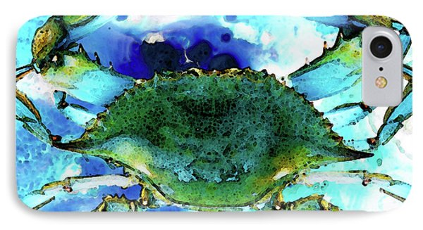 Blue Crab - Abstract Seafood Painting IPhone Case by Sharon Cummings