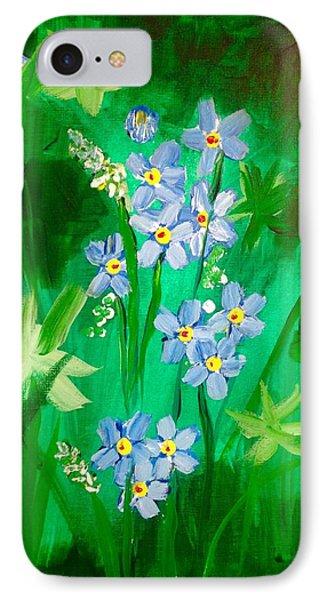 Blue Crocus Flowers IPhone Case by Renee Michelle Wenker