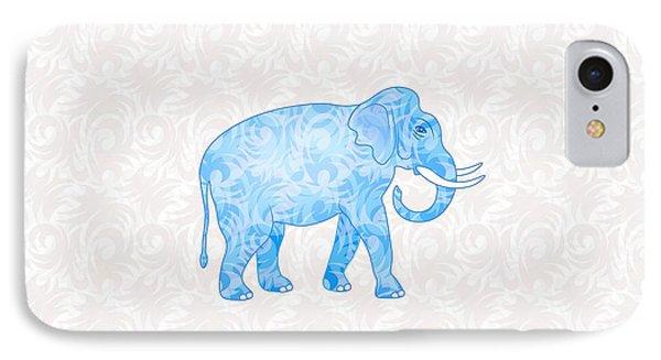 Blue Damask Elephant IPhone 7 Case by Antique Images