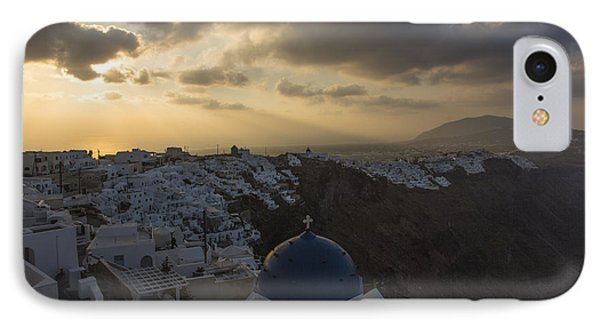 IPhone Case featuring the tapestry - textile Blue Dome - Santorini by Kathy Adams Clark
