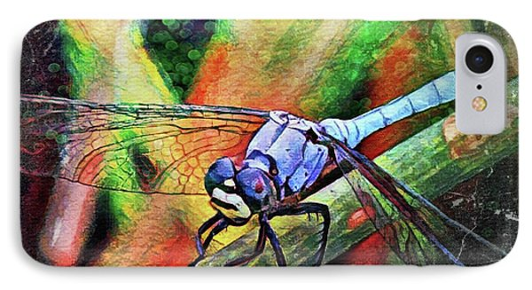 IPhone Case featuring the painting Blue Dragonfly by David Mckinney