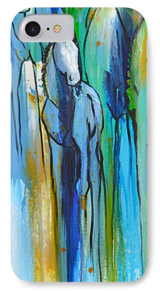 IPhone Case featuring the painting Blue Drip 2 by Cher Devereaux