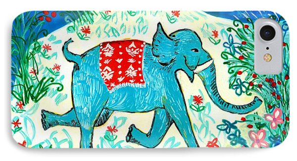 Blue Elephant Facing Right IPhone Case
