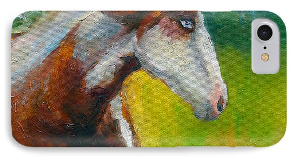 Blue-eyed Paint Horse Oil Painting Print IPhone Case