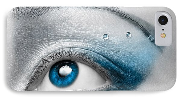 Blue Female Eye Macro With Artistic Make-up IPhone Case by Oleksiy Maksymenko