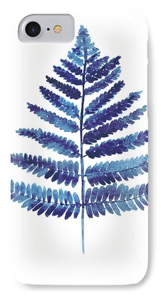 Blue Ferns Watercolor Art Print Painting IPhone 7 Case by Joanna Szmerdt