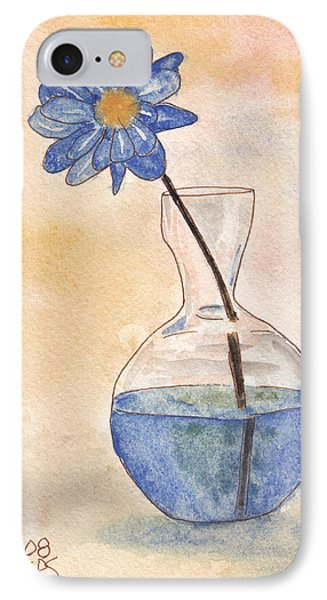 Blue Flower And Glass Vase Sketch IPhone Case