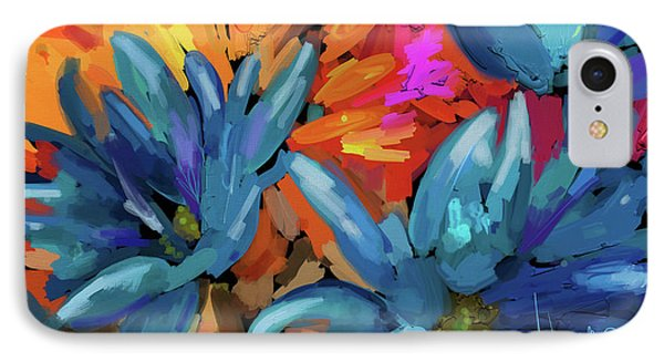 IPhone Case featuring the painting Blue Flowers 2 by DC Langer