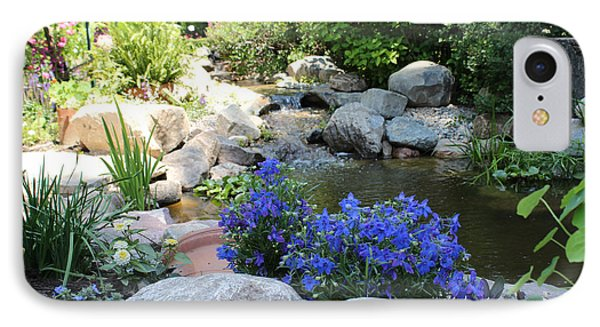 Blue Flowers And Stream Phone Case by Corey Ford