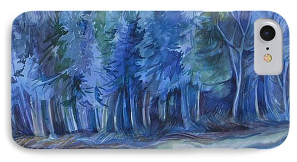 IPhone Case featuring the painting Blue Forest by Anna  Duyunova