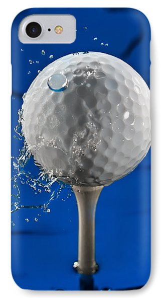 Blue Golf Ball Splash Phone Case by Steve Gadomski