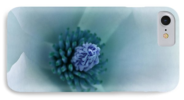 IPhone Case featuring the photograph Abstract Blue Green White Flowers Macro Photography Art Work by Artecco Fine Art Photography