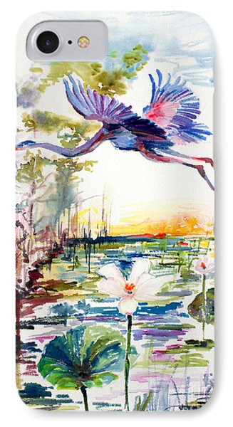 IPhone Case featuring the painting Blue Heron Glides Over Lotus Flowers by Ginette Callaway