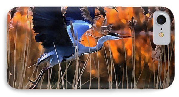 Blue Heron IPhone Case by Jack Torcello