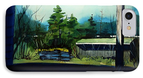 IPhone Case featuring the painting Blue Heron Lake Matted, Framed, Glassed by Charlie Spear