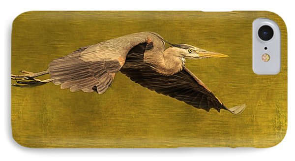 Blue Heron On Gold IPhone Case by CR  Courson