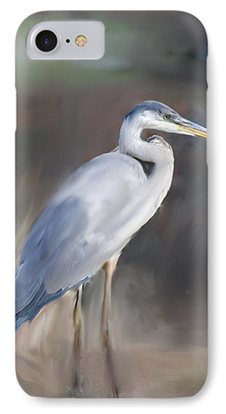 Blue Heron Painting  Phone Case by Don  Wright