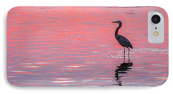 Blue Heron - Pink Water IPhone Case