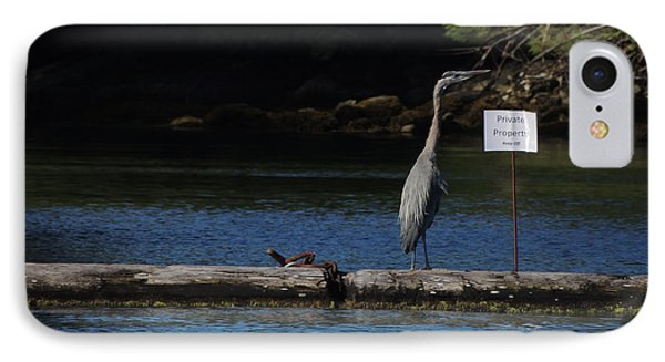 Blue Heron Private Property IPhone Case