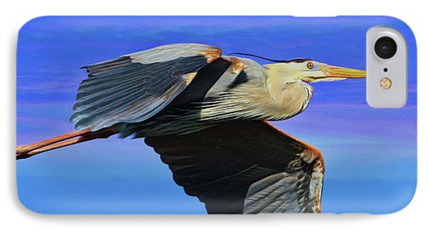 IPhone Case featuring the painting Blue Heron Series Fly by Deborah Benoit