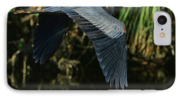 IPhone Case featuring the photograph Blue Heron Series The Pond by Deborah Benoit