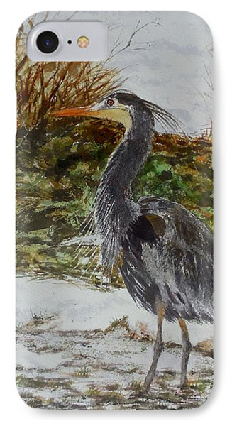 IPhone Case featuring the painting Blue Heron by Sher Nasser