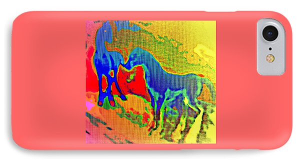 Blue Horses Having A Date  IPhone Case by Hilde Widerberg
