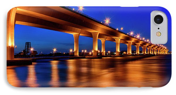 Blue Hour At Roosevelt Bridge In Stuart Florida  IPhone Case by Justin Kelefas