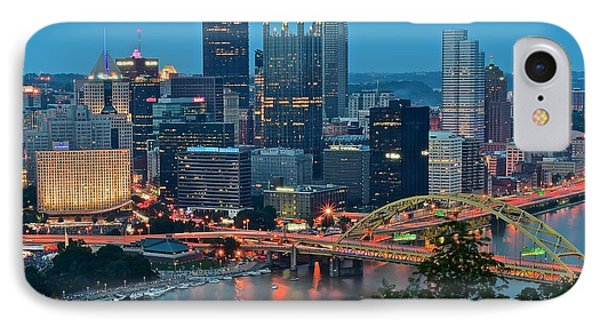 Blue Hour In Pittsburgh IPhone Case by Frozen in Time Fine Art Photography