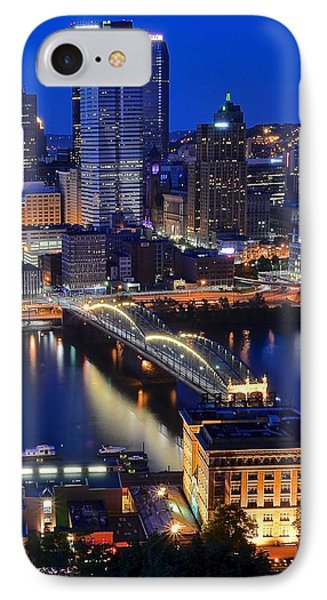 Blue Hour Pittsburgh IPhone Case by Frozen in Time Fine Art Photography