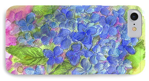 IPhone Case featuring the painting Blue Hydrangea by Cathie Richardson
