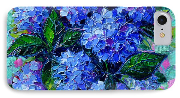 Blue Hydrangeas - Abstract Floral Composition IPhone Case by Mona Edulesco