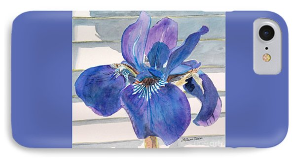 IPhone Case featuring the painting Blue Iris by LeAnne Sowa