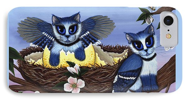 IPhone Case featuring the painting Blue Jay Kittens by Carrie Hawks