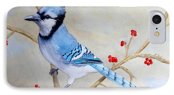 IPhone Case featuring the painting Blue Jay by Laurel Best