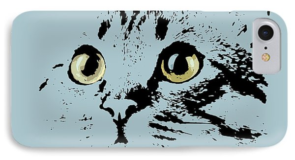 Blue Kitten Portrait IPhone Case by Pablo Franchi