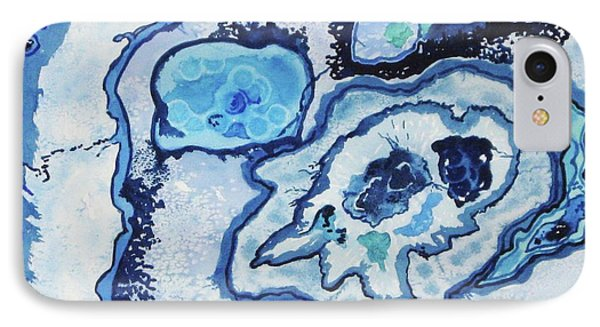 IPhone Case featuring the painting Blue Lace Agate I by Ellen Levinson