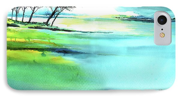 IPhone Case featuring the painting Blue Lagoon by Anil Nene