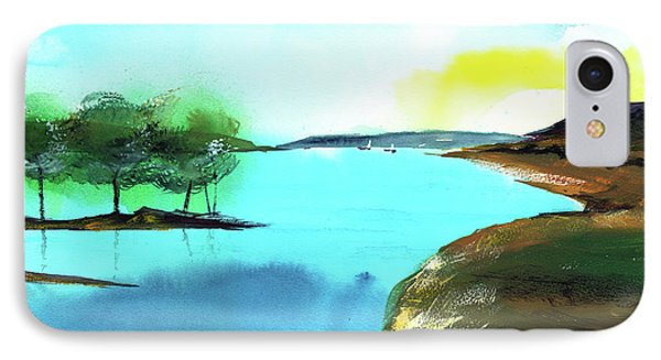 IPhone Case featuring the painting Blue Lake by Anil Nene