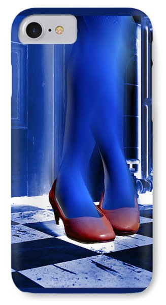 IPhone Case featuring the photograph Blue Legs And Red Shoes by Kellice Swaggerty