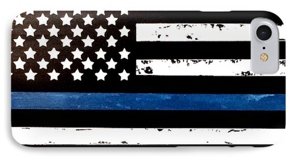 IPhone Case featuring the painting Blue Line Flag by Denise Tomasura