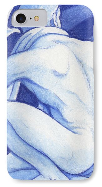 Blue Man Study Phone Case by Amy S Turner