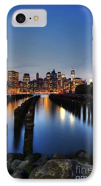 Blue Manhattan Phone Case by Andrew Paranavitana