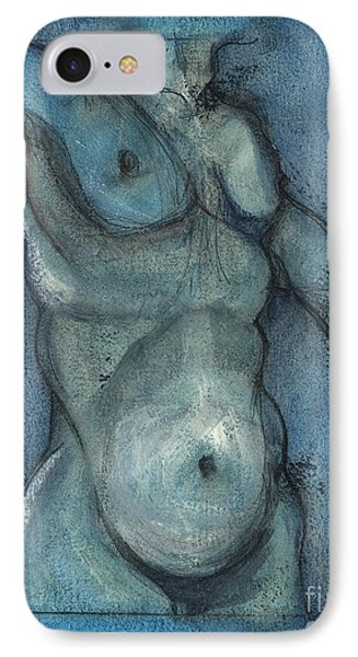 IPhone Case featuring the painting Blue Marvel, Superhero - Male Nude by Carolyn Weltman