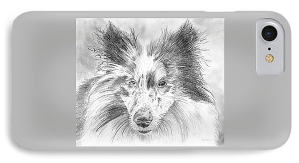 Blue Merle Sheltie Graphite Drawing IPhone Case