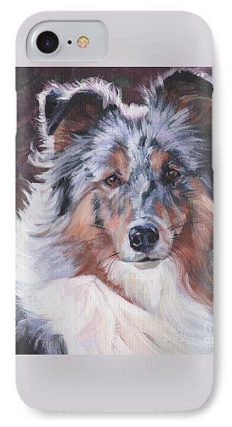IPhone Case featuring the painting Blue Merle Sheltie by Lee Ann Shepard