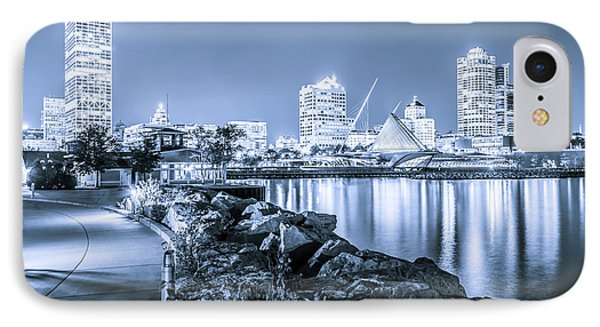 Blue Milwaukee Skyline At Night Picture IPhone Case by Paul Velgos
