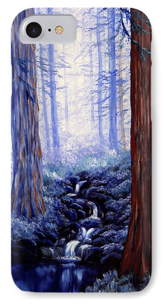Blue Misty Morning In The Redwoods IPhone Case by Laura Iverson