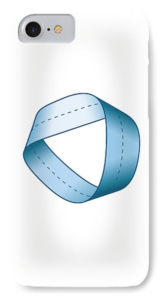 Blue Moebius Strip With Centerline IPhone Case by Peter Hermes Furian